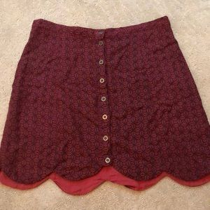 maroon patterned skirt